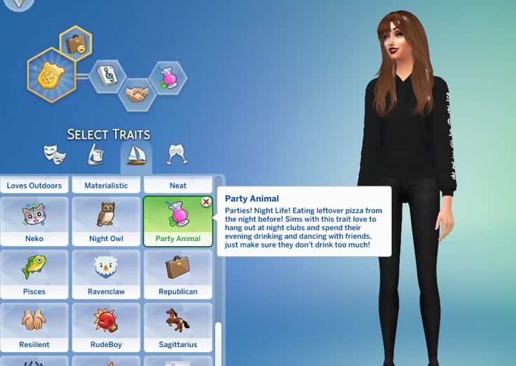 Lana Cc Finds Party Animal Trait By Gobananas Sims 4