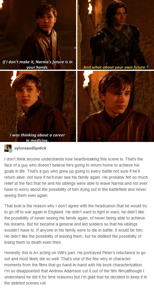 A very interesting opinion from tumblr on this (deleted) scene from the prince caspian movie.