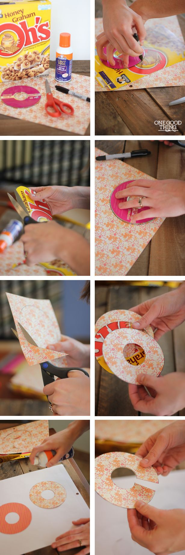 No more searching where to put back that black pair of pants because it's CLEARLY MARKED with these simple to make Closet Markers.  We made ours using an old cereal box, some scraps of scrapbook paper, some spray adhesive and a pair of scissors! Here's our photo tutorial: