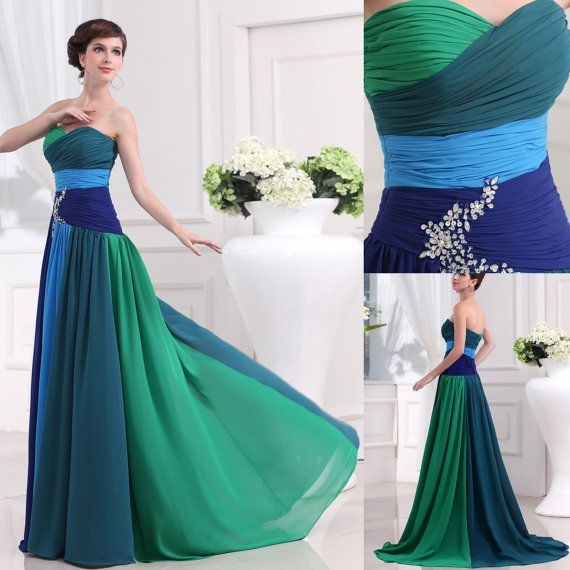Beaded chiffon prom dress green blue mix color special for Green beach wedding dresses