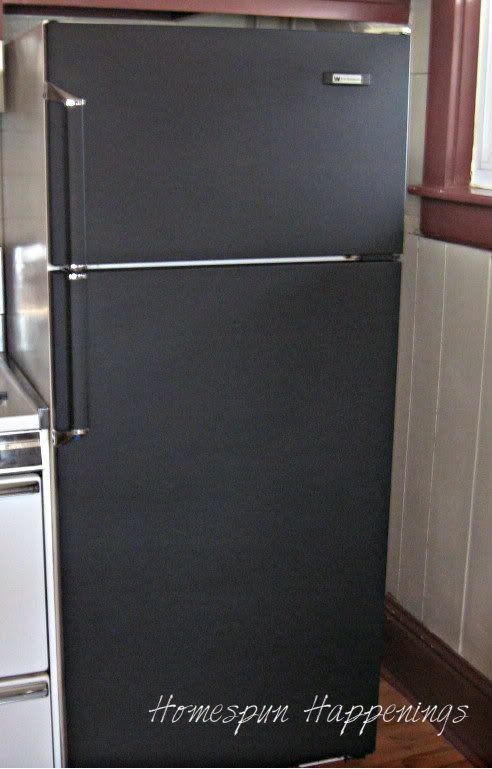 chalkboard paint refrigerator | Homespun Happenings: I Painted My Fridge