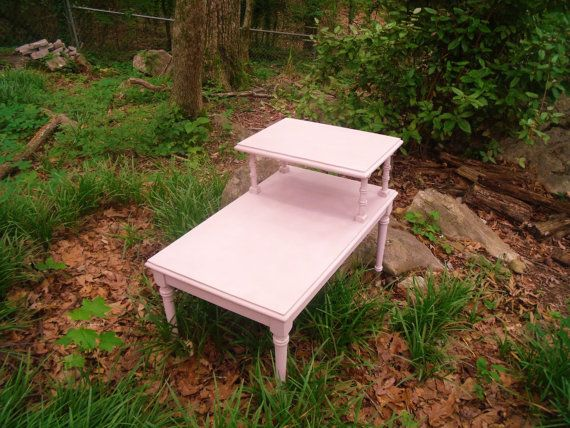 Mid Century Modern Tiered Step Table / Pink End Table / Pink Bedside Table / Pink Night Stand / Chalk Painted Furniture / Accent Table
