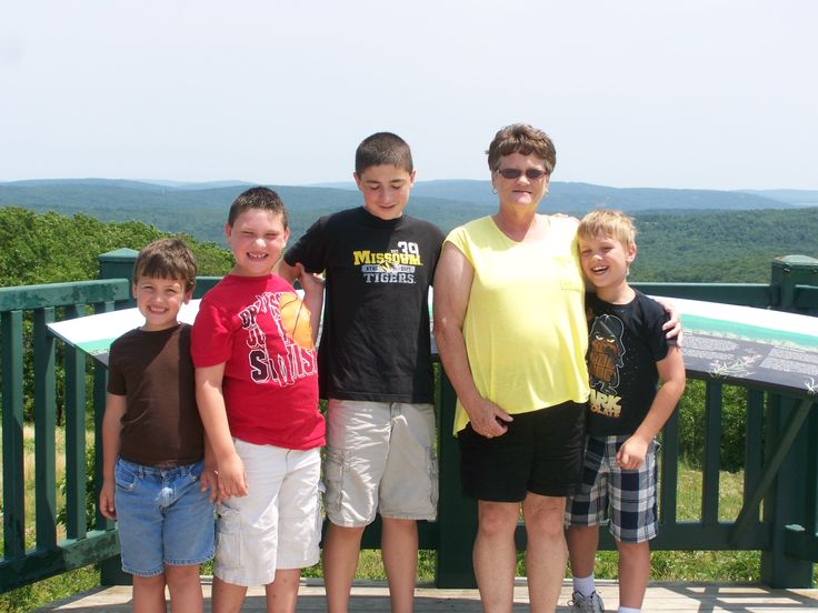 Grandma and the grand kids at Taum Sauk Mountain!
