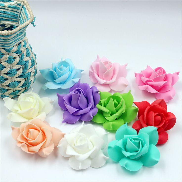 Ems бесплатная доставка 800 шт. 7 см пена пятилистный искусственный цветок розы для украшения свадебного автомобиля DIY набор для поделок цветок гортензия