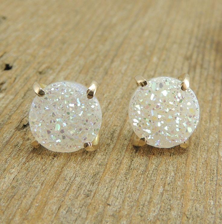 White Druzy  Recycled 14k Gold Earrings, Gold Prong Earrings, Druzy Stud Earrings, Posts, Handmade Earrings. $150.00, via Etsy.