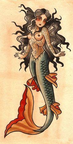 Resultado de imagen de tatuajes de sirenas old school