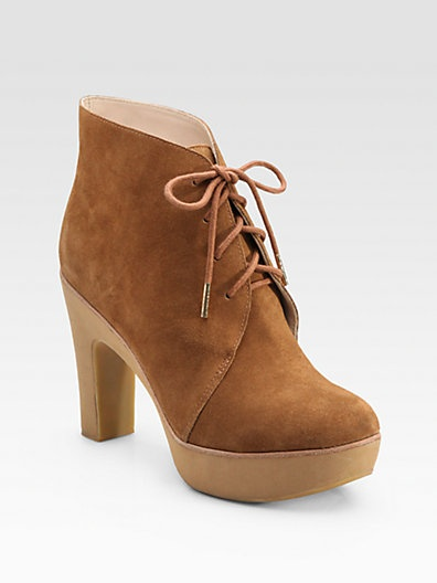 Michael Kors Divina Suede Lace-Up Ankle Boots in Luggage Sport Suede