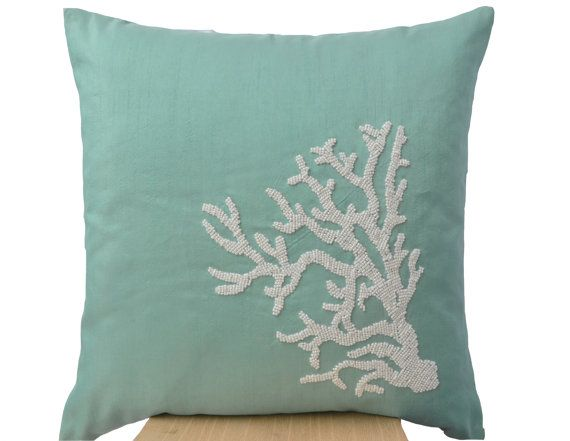 Coral Pillow Coral Teal Silk Pillow Covers White by AmoreBeaute
