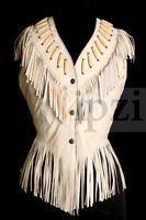 Women Western Wear Real Sheep Leather Sleeve less Jacket coat  Fringe and Bone
