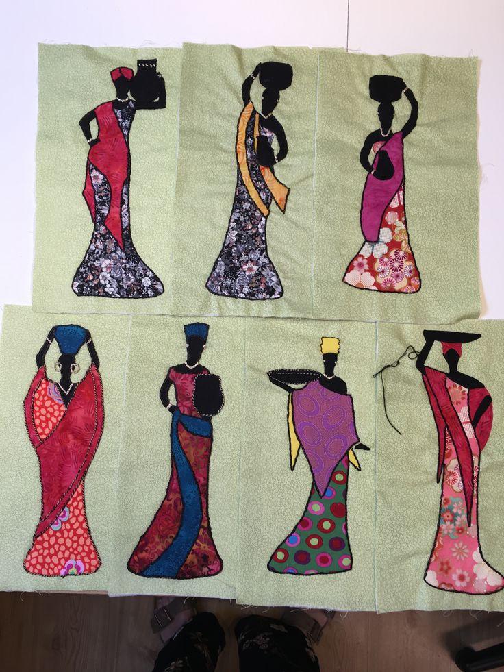 Disse fine Afrikanske Kvinder er syet af min kursist Anna Riis hos Speich Design foråret 2017.