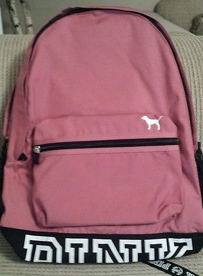 Victorias Secret PINK Backpack Bookbag Rose Pink Peach logo Victoria's NEW