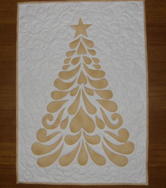 Gold Contemporary Christmas Tree Quilted Wall by HollysHutch