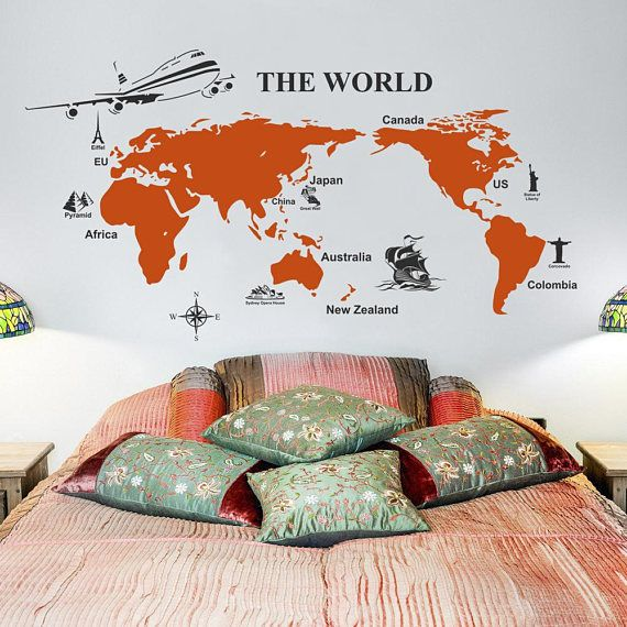 Mejores 138 imgenes de wall decals en pinterest etiquetas de world map wall sticker the world wall decal decor map with symbols of the gumiabroncs Images