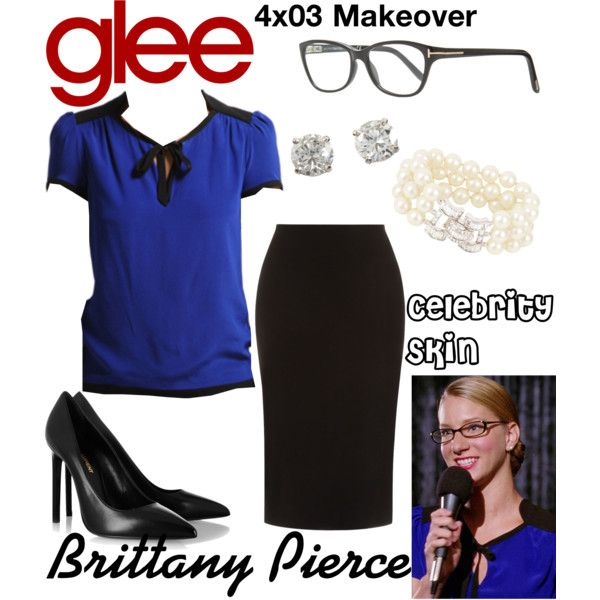 Brittany Pierce (Glee) : Celebrity Skin by aure26 on Polyvore featuring polyvore, fashion, style, Yves Saint Laurent, Kenneth Jay Lane, Tom Ford, clothing and glee