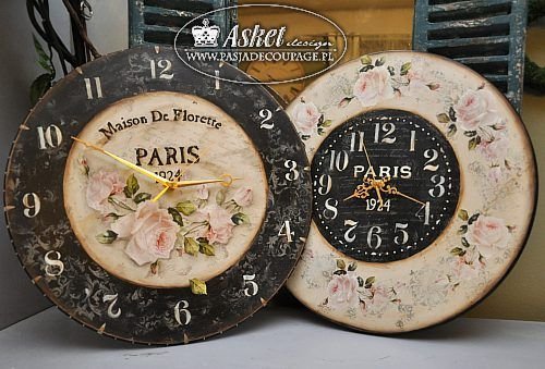 asket decoupage orologio vintage