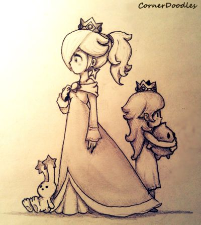 """I fell in love with Rosalina's fire hairstyle in 3D World, so I started drawing her this way. I was kinda proud of the result, but thought it was too """"empty"""", so I added her younger self from her s..."""