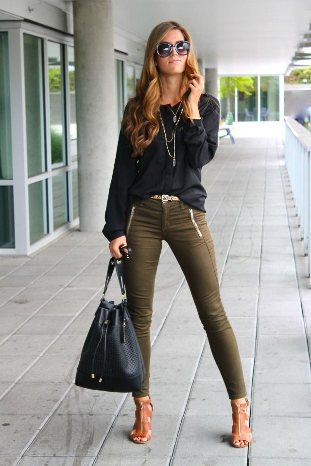 Olive skinnies, black blouse,  cognac sandals.