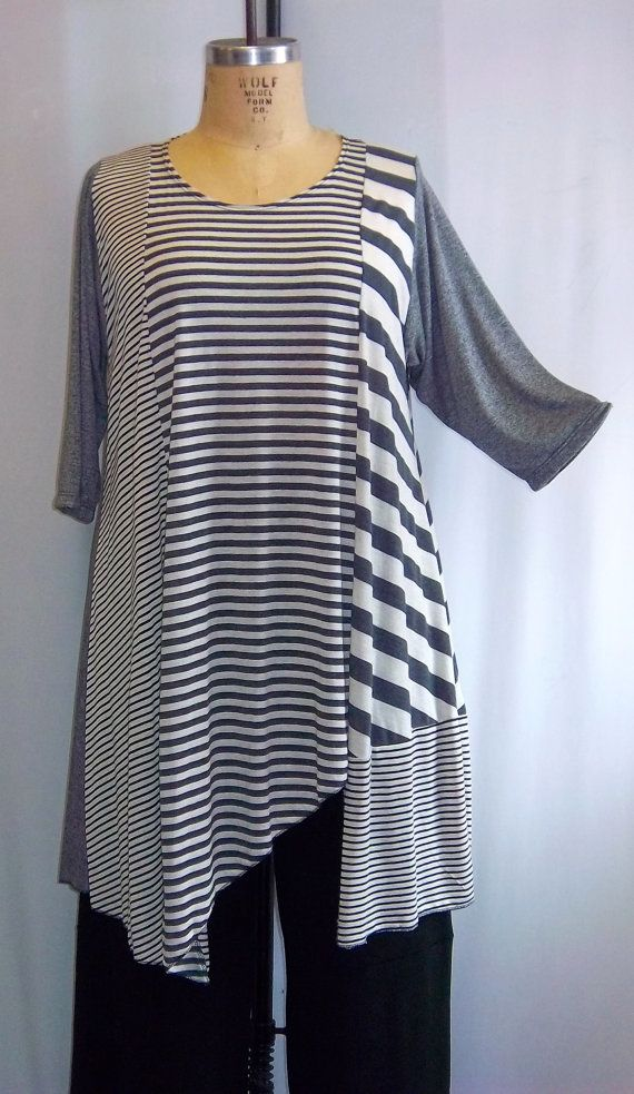 Coco and Juan Plus Size Asymmetric Tunic Multi Gray Stripe 2 Knit Size 1 (fits 1X,2X) Bust 50 inches