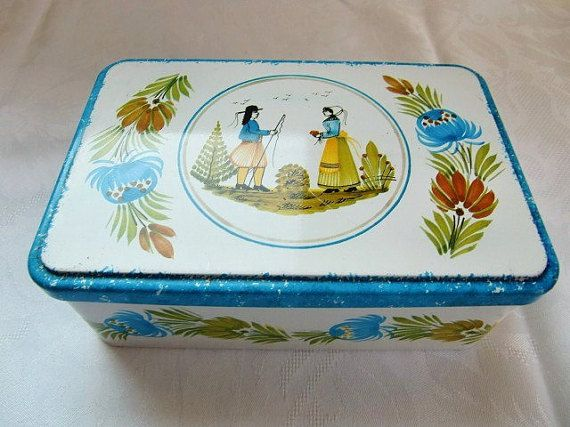 French vintage biscuit metal box from Henriot Quimper (Brittany) Item is in good condition with some typical wear from age and use. Marked Massily