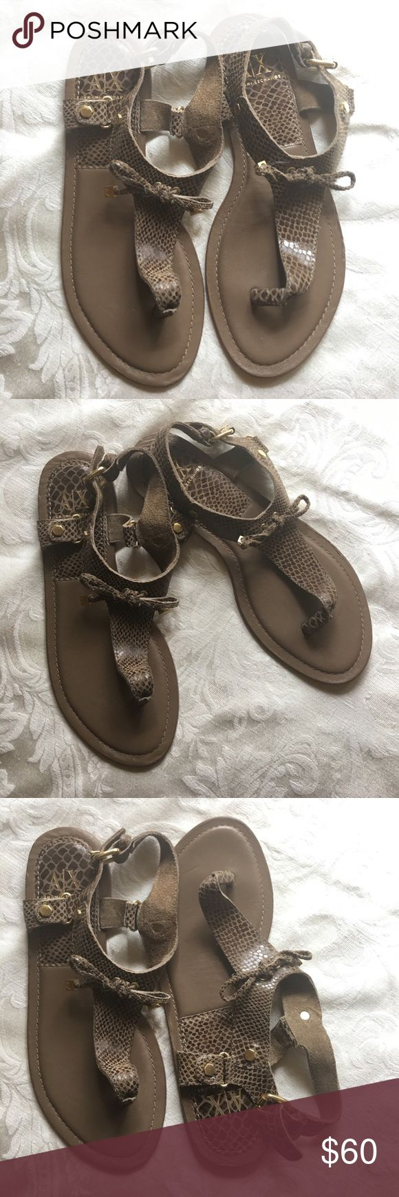 A/X Armani Exchange Brown Sandals Shoes 9M Size 9M Brown Animal Print Thong Leather Sandals Shoes. Pre-owned in great condition. Armani Exchange Shoes Sandals