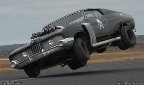 Putting the Mad Max 2 Landau replica up on two wheels, driven by stunt driver George Novak (Scuttle from the original Mad Max). http://www.back2themax.com