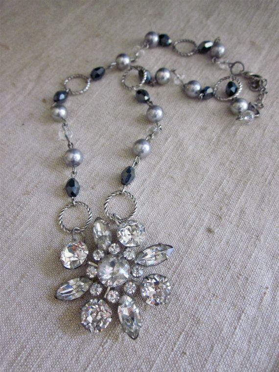 Vintage rhinestone handmade necklace. www.etsy.com/shop/frenchfeatherdesigns
