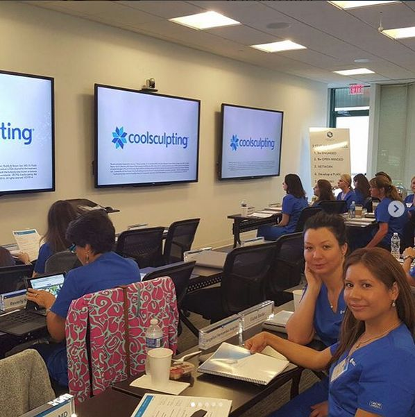 Eszter (Director of Laser Technologies) and Angelica (Medical Technician) furthering their Coolsculpting education at coolsculpting university.