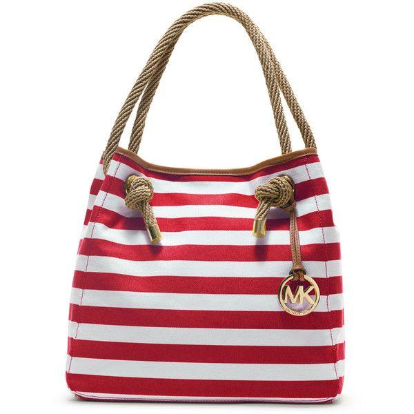 MICHAEL Michael Kors Large Marina Striped Grab Bag ($198) ❤ liked on Polyvore