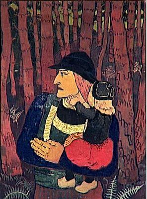 Georges Lacombe (1868-1916) : Breton portant un enfant. - Grotte à Camaret.