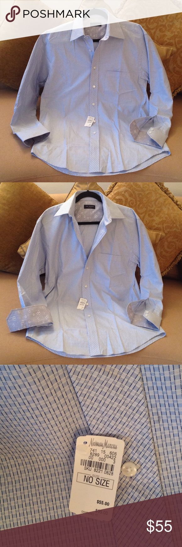 💙 'Ted Baker of London' - Neiman Marcus Brand New Shirt by Ted Baker from Neiman Marcus. Size 15.5 - 32/33. Stylish Light Blue with tiny Deep Blue detailing.  The Neiman Marcus sales tags are attached. The inside collar and Cuffs has a Sharp Floral pattern for a little extra added personality. Excellent condition with no stains, tears or other imperfections. Ted Baker London Shirts Dress Shirts