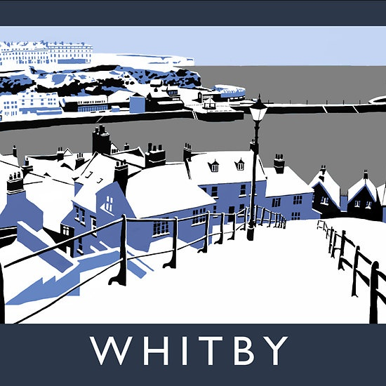 Whitby, North Yorkshire, 'vintage' style travel print by Chequered Chicken. Exclusive digital art prints, hand drawn on an Apple iPad. The series is inspired by vintage railway posters and the work of artists such as Brian Cook and Norman Wilkinson.