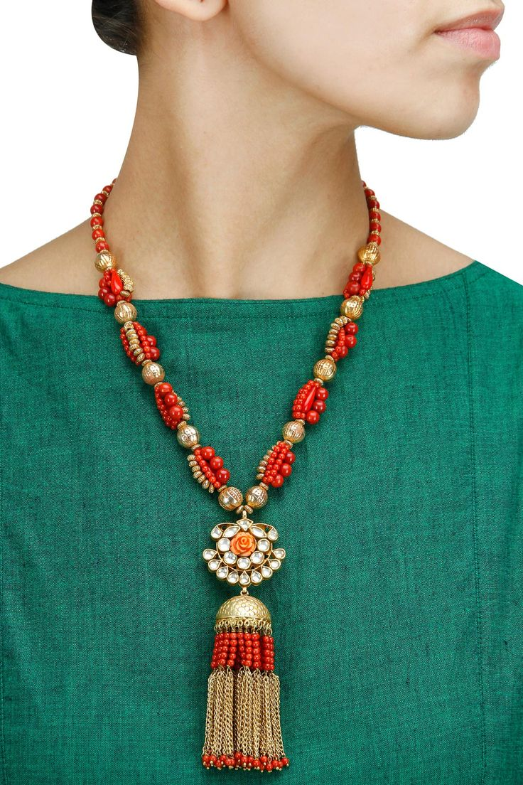 Coral necklace with chain tassels available only at Pernia's Pop-Up Shop.