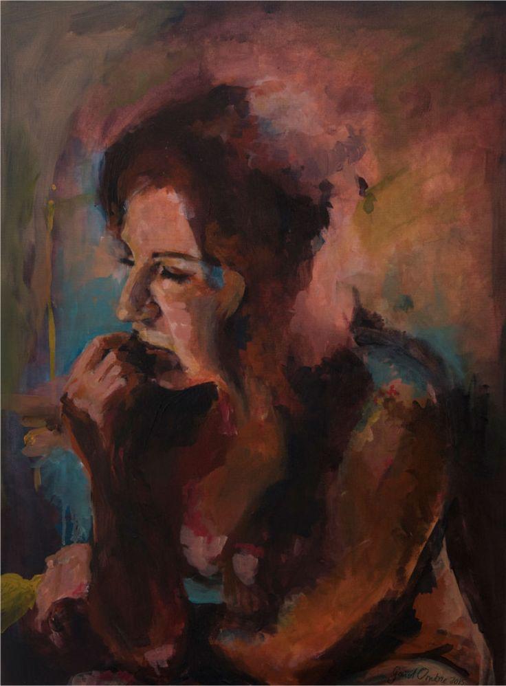 Schilderij 'Isa'. 60 x 80 cm. 3D doek. € 1.795,- Actrice en schrijfster Isa Hoes poseerde bij haar thuis.