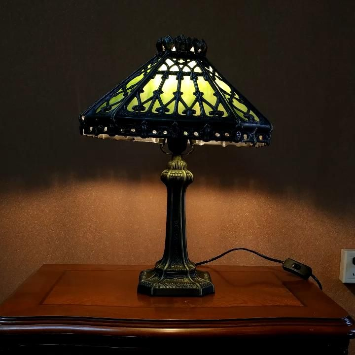 Ht Tiffany Style Decor Table Lamp Yellow Classical Baroque Stained Glass Shade Zinc Alloy Base Video Decorative Table Lamps Tiffany Lamps Table Lamp