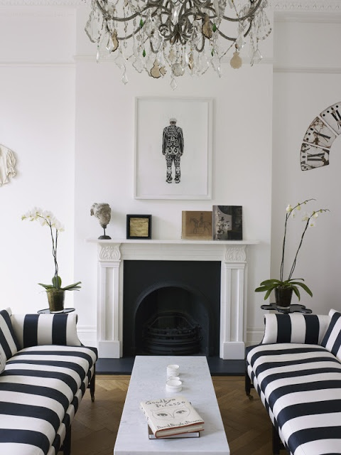 slate fireplace surround and Striped sofas.