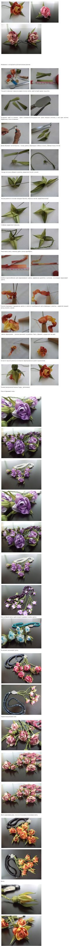 Step by step making ribbon roses (instructions in Russian)