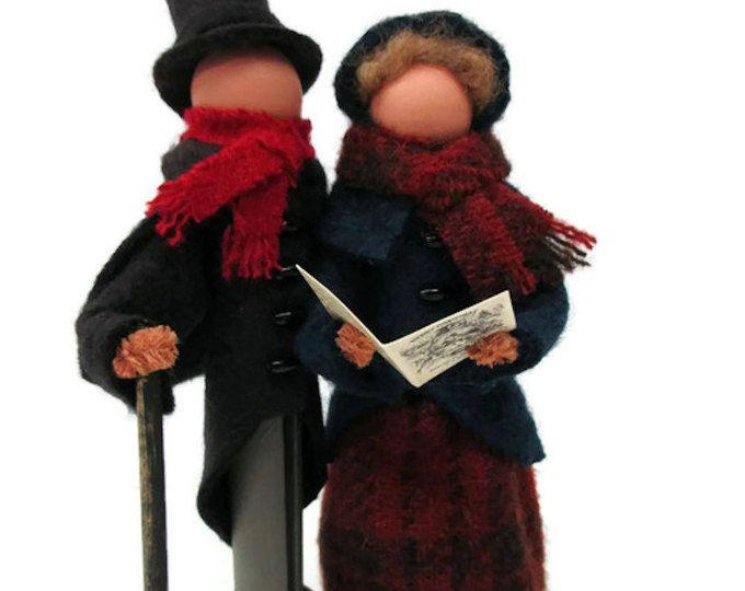 Carolers Christmas Ornament, Handmade Clothespin Ornament, Wool Felt, Victorian Carolers, Peg Doll, Clothespin Doll, Ornament Exchange