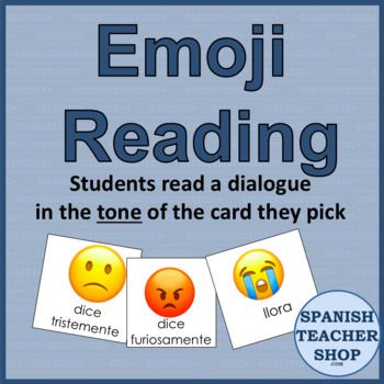 Use 20 emojis as different emotions and tones when reading. Use this as a comprehensible input strategy to get in extra reps of your targeted structures. Kids will be having so much fun that they won't notice the amount of repetitions they are hearing of the same sentences.  Includes 2 sets of 20 cards. One set of the emotion itself and another to be used for dialogue.  To use, you simply need a set of quotes, such as dialogue from a chapter of a class novel or a short story. Have two bow...