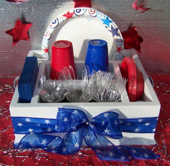 Fourth of July Backyard bbq tableware caddy.