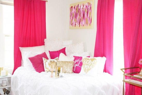Decorating Ideas > White, Pink And Gold Chic Bedroom Color Scheme  Dorm  ~ 232412_Pink And Purple Dorm Room Ideas