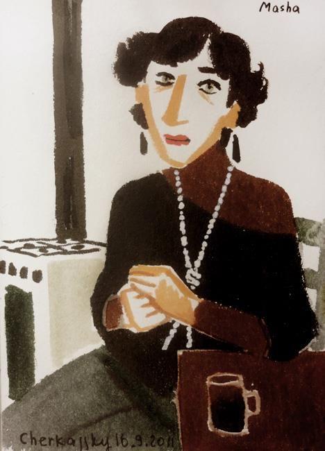 Zoya Cherkassky, Masha. Markers on paper, 2011. 16x12 cm.