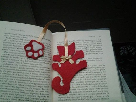 Bookmark cat shaped handmade in pannolenci