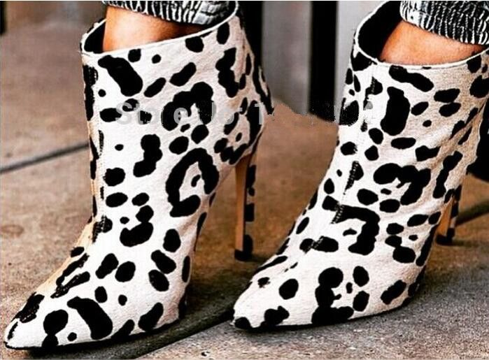 2017 Spring new arrival white leopard pattern high heel ankle boots horse hair pointed toe back zipper punk boots for woman