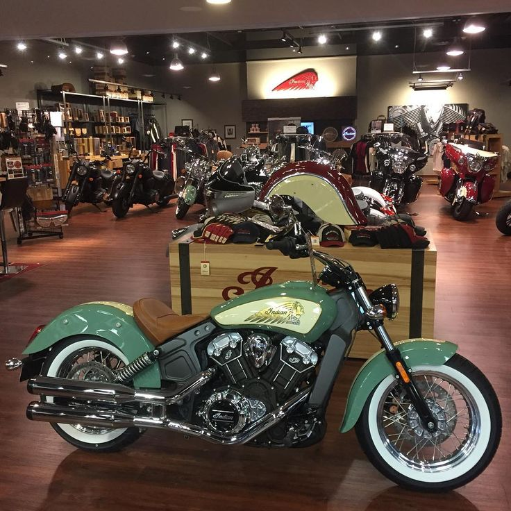 2016 Indian Scout Custom Willow Green/Ivory Rinehart Racing Exhaust, Laced Chrome Wheels,Wide Whitewall Tires. Stop by or call Coastal Indian Motorcycle ...
