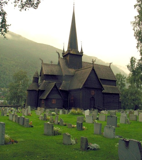 An ancient wooden church in Lom, Norway.