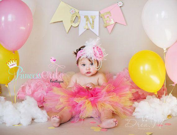 Pink Lemonade Cake Smash Tutu and Headband by PrincessCuteBoutique