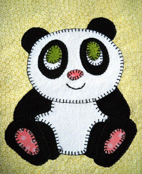 Panda PDF applique quilt pattern whimsical giant panda baby | Etsy