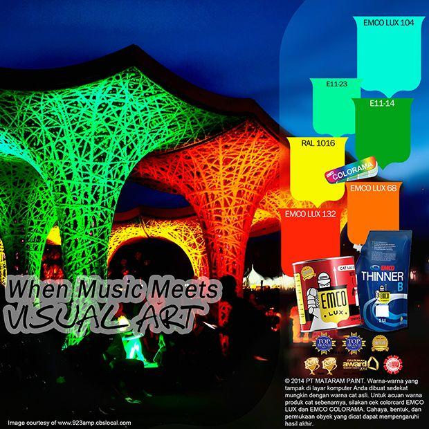 Kawan EMCO, kemeriahan acara festival musik dan seni dapat Anda rasakan dalam hunian Anda dengan warna EMCO LUX 104, EMCO LUX 132, EMCO LUX 68 dipadankan dengan EMCO COLORAMA E11-23, E11-14, RAL 1016  pada palet EMCO. Untuk artikel menarik lainnya silahkan cek di http://matarampaint.com/news.php.