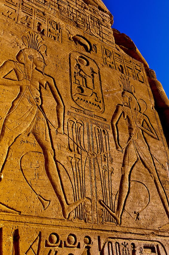 Reliefs and Hieroglyphs, The Great Temple, Abu Simbel on Lake Nasser, Egypt