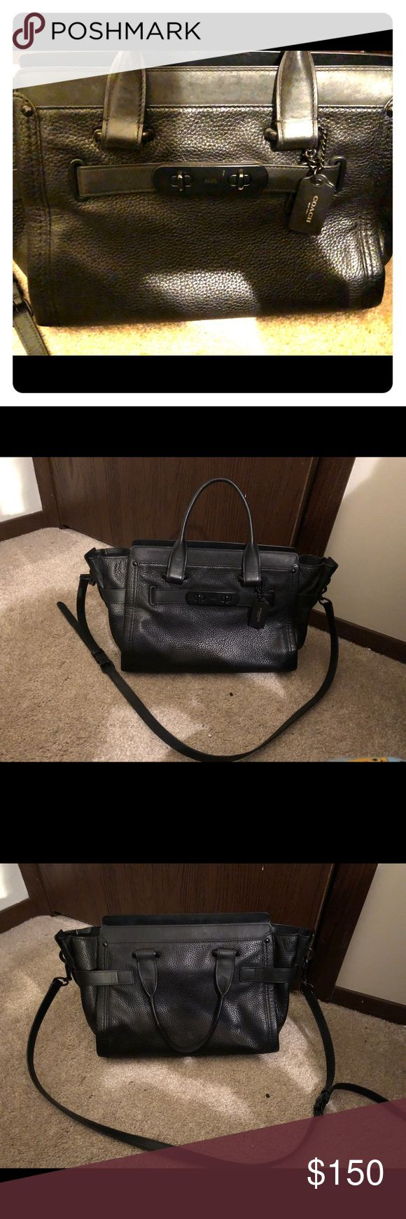 """Coach swagger with black pebble leather Black pebble leather worn only a few times minimally worm. Black on black accents. 10 3/4"""" (L) x 7 3/4"""" (H) x 5 3/4 (W). Coach Bags Crossbody Bags"""